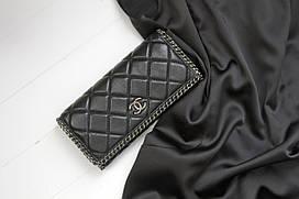 Шкіряний жіночий клатч-гаманець / Жіночий клатч з натуральної шкіри, колір чорний