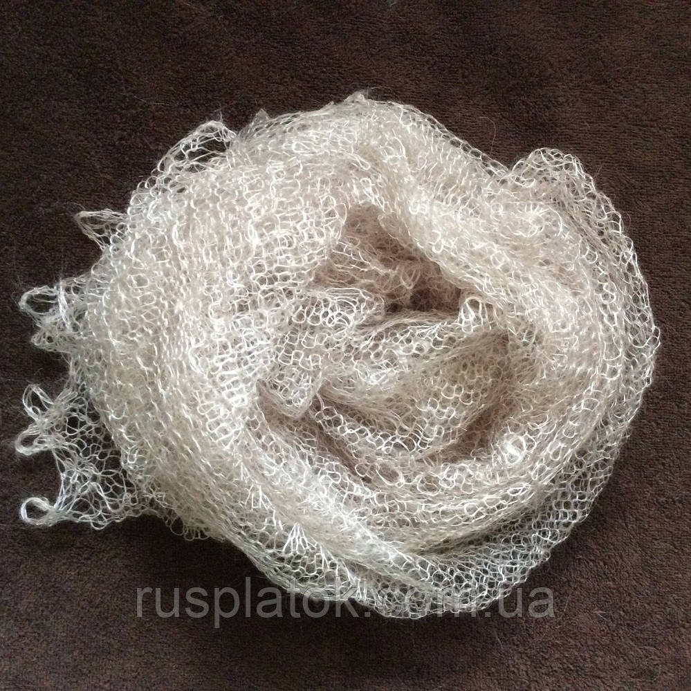 Паутинка Пастели Оренбурга, Ш-00104, цвет жемчужно-серый, оренбургский платок (паутинка)