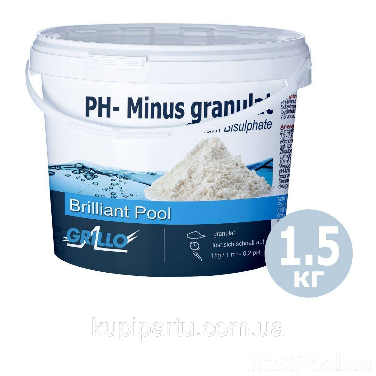 Средство для понижения уровня pН в воде бассейна. pH- 1.5 кг, Grillo 814, Германия