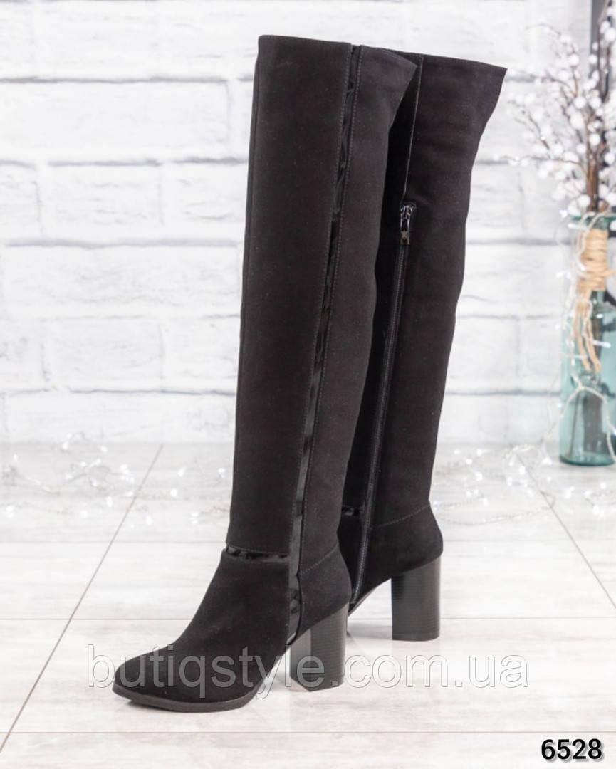 36, 37 размер Зимние черные ботфорты натуральный замш на каблуке Еврозима