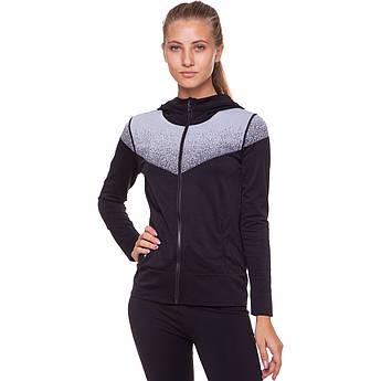 Толстовка женская быстросохнущая для йоги, зала и бега VSX размер S-L, 40-70кг Черный-серый S 40-45кг PZ-FI-6938_1