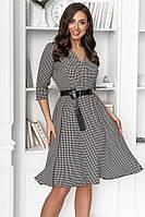 Женское платье гусиная лапка с кожаным поясом