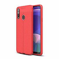 Чехол Auto Focus для Samsung Galaxy A20s (A207) силикон Original Soft Touch красный
