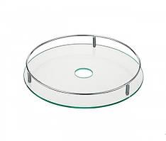 Полка стеклянная c рейлингом 350 мм (хром)