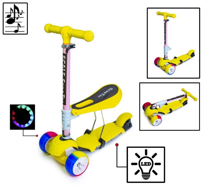 Самокат беговел scooter 3в1 со светом и музыкой желтый.