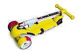 Самокат беговел scooter 3в1 со светом и музыкой желтый., фото 4