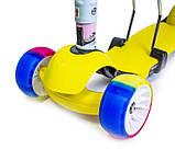 Самокат беговел scooter 3в1 со светом и музыкой желтый., фото 5