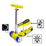 Самокат беговел scooter 3в1 со светом и музыкой желтый., фото 2