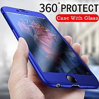 Чехол 360 градусов для Iphone 7/8 противоударный  синий