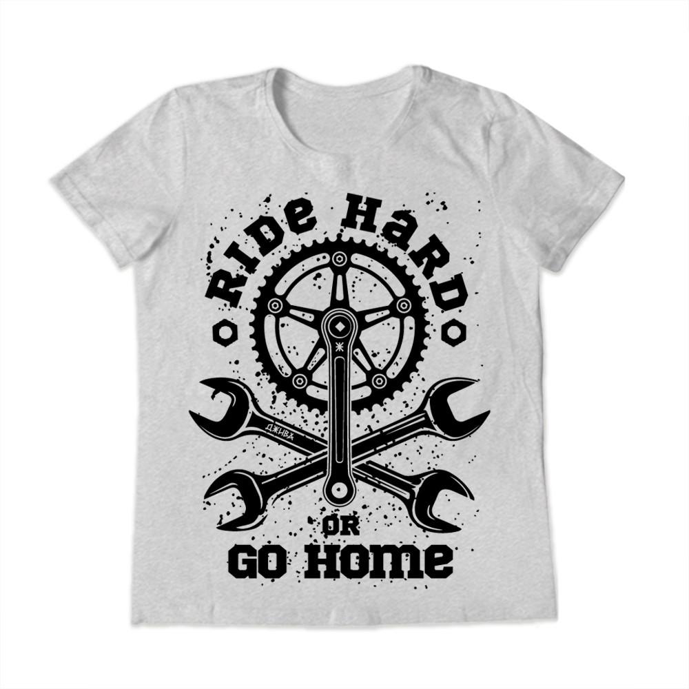 Футболка Ride hard or go home (Райд хард) серая женская от бренда Джива
