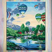 """Рисование по номерам, холст на подрамнике,  Сельский пейзаж """"Воздушные шары 2"""" 40*50 см, без коробки"""
