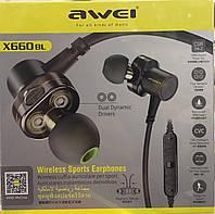 Влагозащищённые беспроводные наушники AWEI Х660B Dual Dinamic Bluetooth(Блютуз)