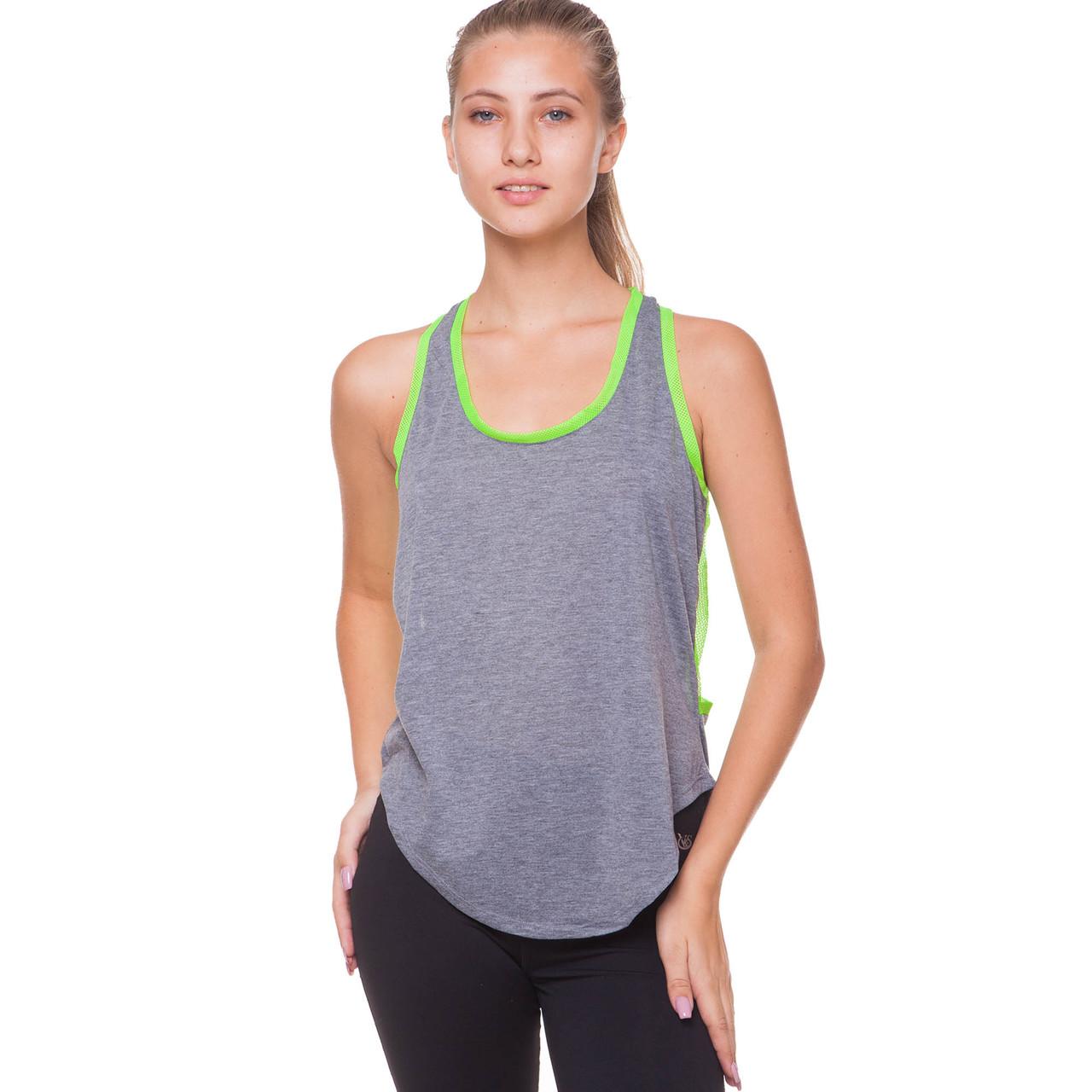 Майка для фитнеса и йоги Domino Sport размер M-L-40-48 Серый-салатовый M (40-44) PZ-CO-9006_1