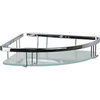 Угловая полка в ванную комнату со стеклом 22*22см (латунь) Celik 25108