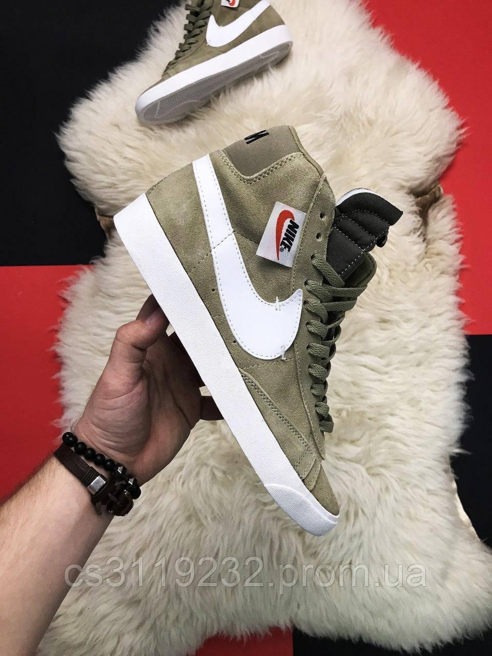 Мужские кроссовки Nike Blazer Mid Olive (оливковые)