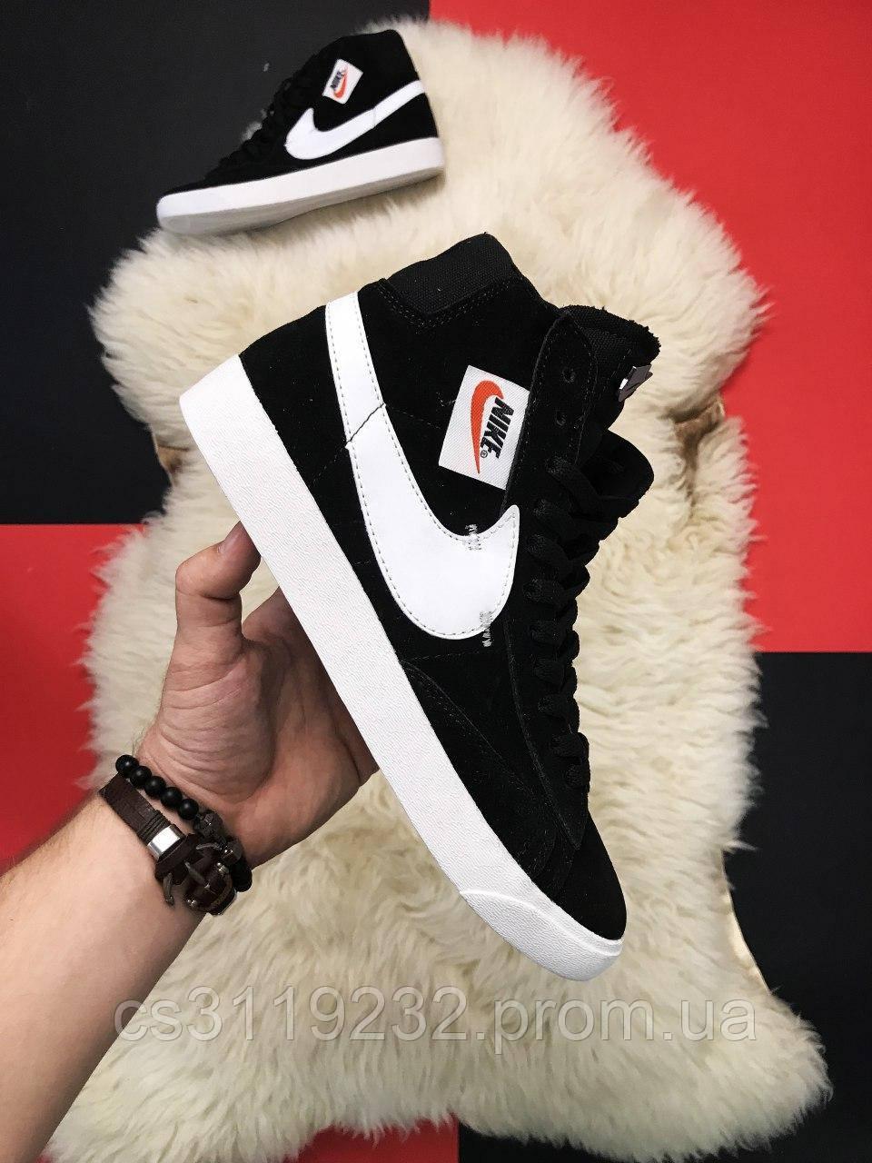 Мужские кроссовки Nike Blazer Mid Black (черные)