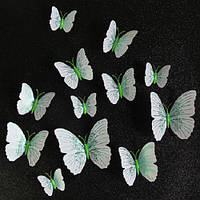 Набор бабочек 3D (на магните), ЗЕЛЕНЫЕ блестящие