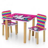 """Детский столик деревянный с двумя стульчиками """"Единорог"""" Bambi 506-64 Малиновый"""