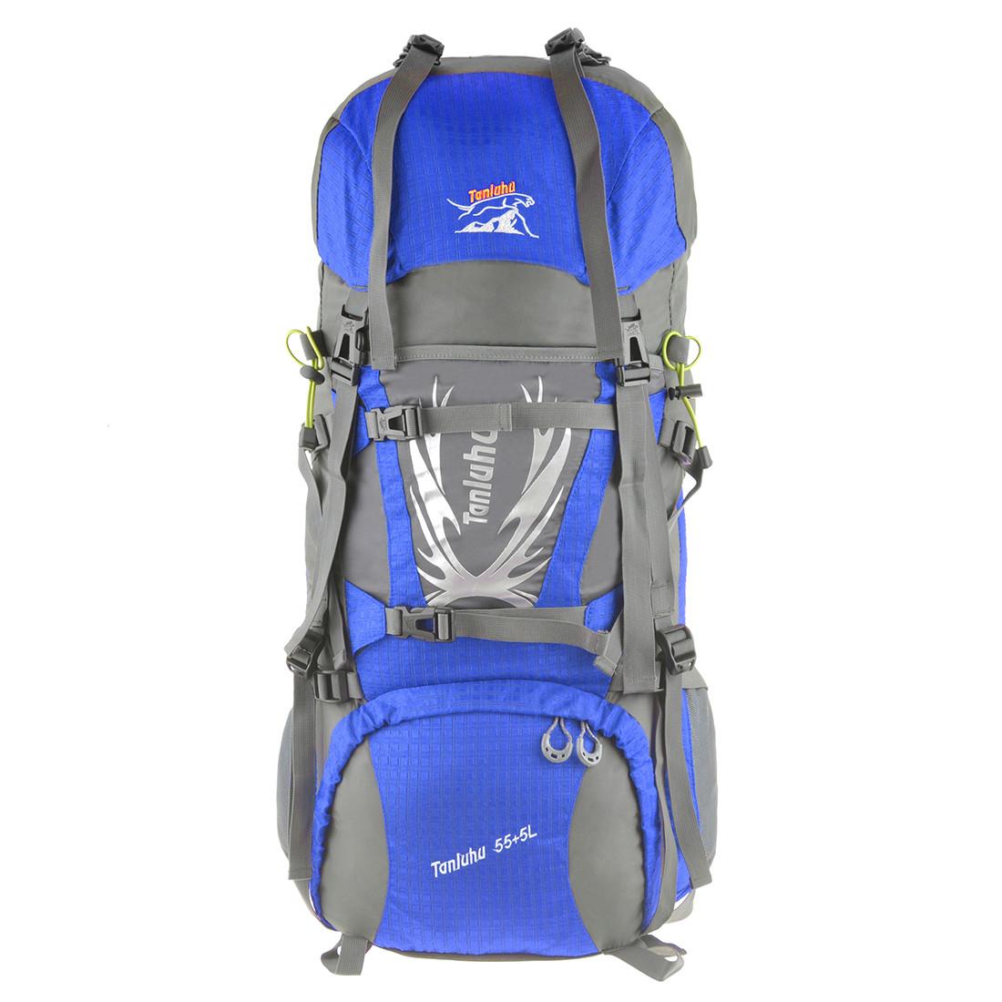 Рюкзак туристичний TANLUHU 80х32х24 55+5л блакитний Polyester Oxford Rip Stop PU 600D/1600D кс627гол
