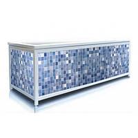 Экран под ванну 160 см, синий кафель, пластиковый каркас