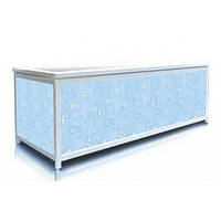 Экран под ванну 130 см, голубые ракушки, пластиковый каркас