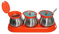 Набор для специй Frico FRU-127 orange 3 емкости с ложками