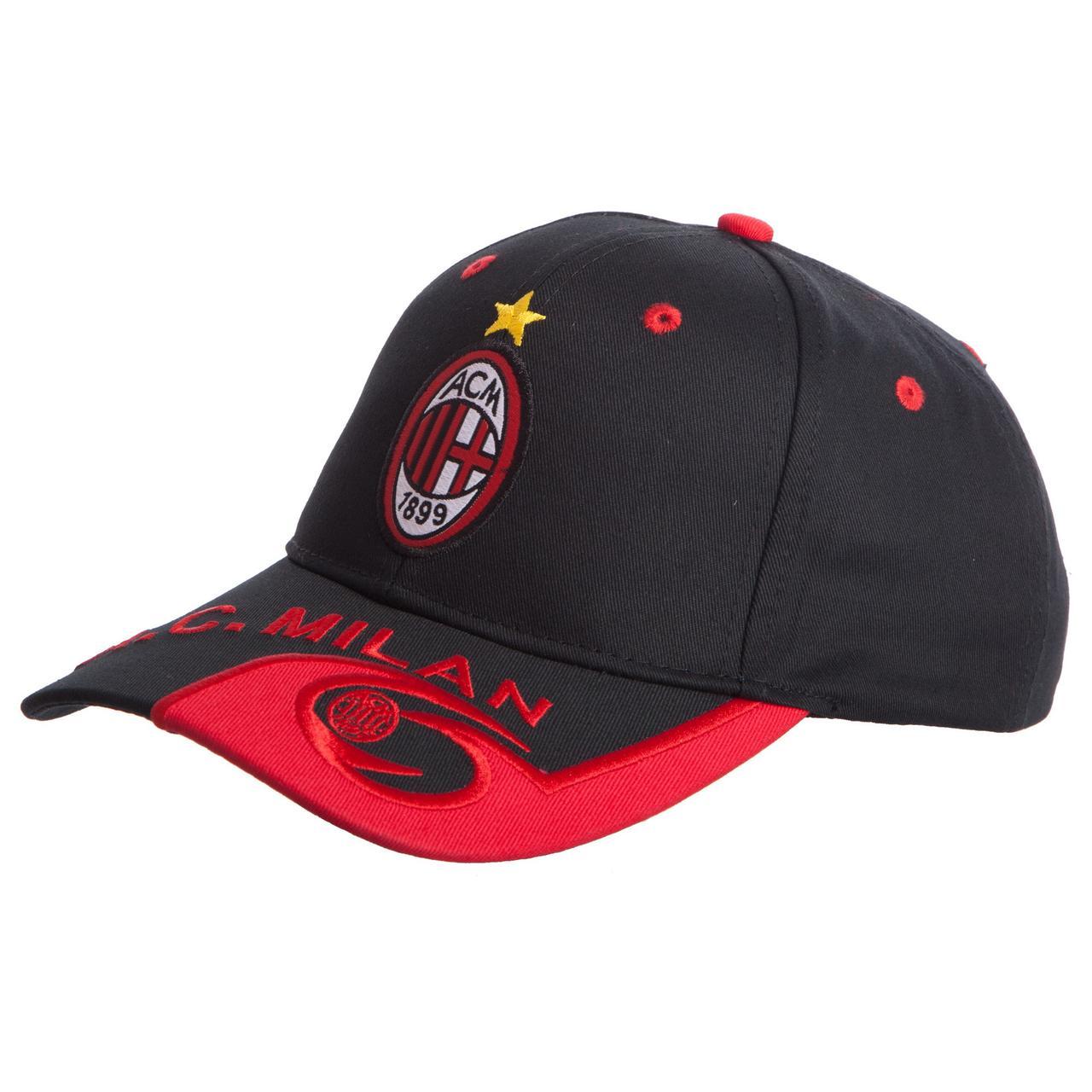 Кепка футбольного клуба AC MILAN (хлопок, черный-красный) PZ-CO-0793