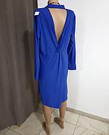 Платье-рубашка синее электрик с оригинальной спинкой