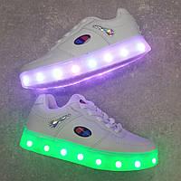 Белые кроссовки c Led подсветкой 26-31 размер