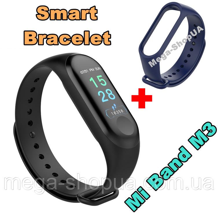 Фитнес браслет Smart Bracelet Mi Band M3 Blue клипса зарядка, фитнес трекер, спорт часы, умные часы