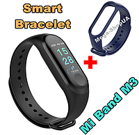 Фитнес браслет Smart Bracelet Mi Band M3 Blue. Клипса зарядка. Цветной экран. Фитнес-браслет Mi Band M3