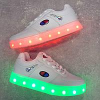 Белые кроссовки c Led подсветкой 32-37 размер
