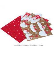 Декор новогодний наклейки сувенир Yves Rocher от ив роше ПРАЗДНИЧНЫЕ набор=4 листа красный с золотом