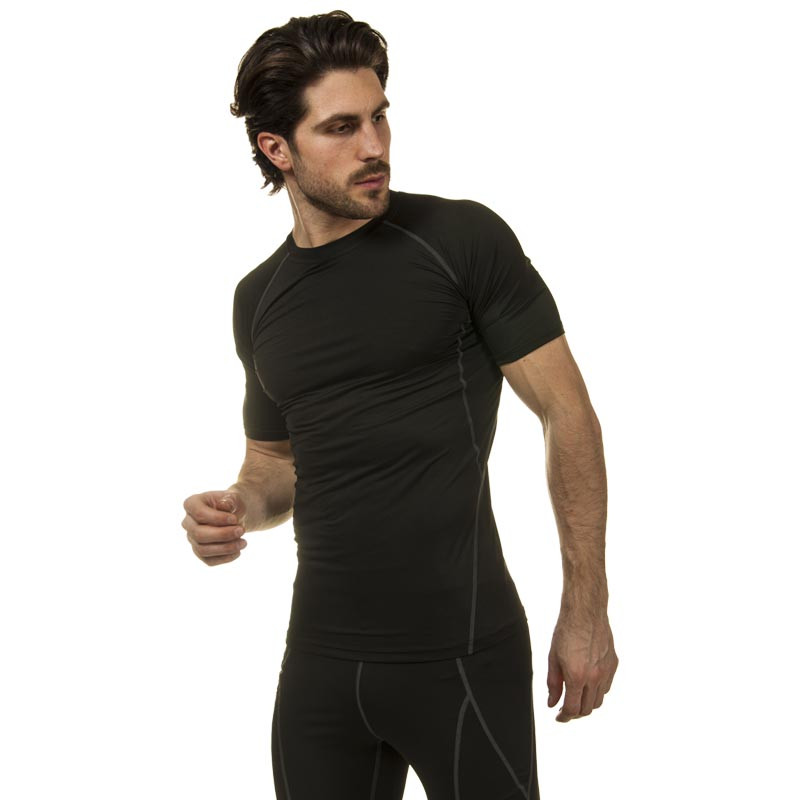 Компрессионный комплект белья мужской (футболка с коротким рукавом и шорты) размер L-3XL Черный-серый L (46-48) PZ-LD-1103-LD-1502_1