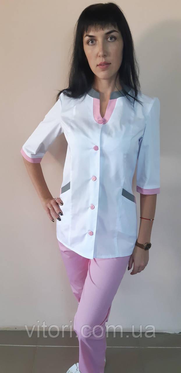 Женский медицинский коттоновый костюм Радуга цветной три четверти рукав