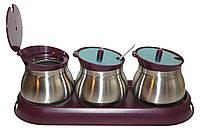 Набор для специй Frico FRU-127 bordo 3 емкости с ложками