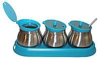 Набор для специй Frico FRU-127 blue 3 емкости с ложками