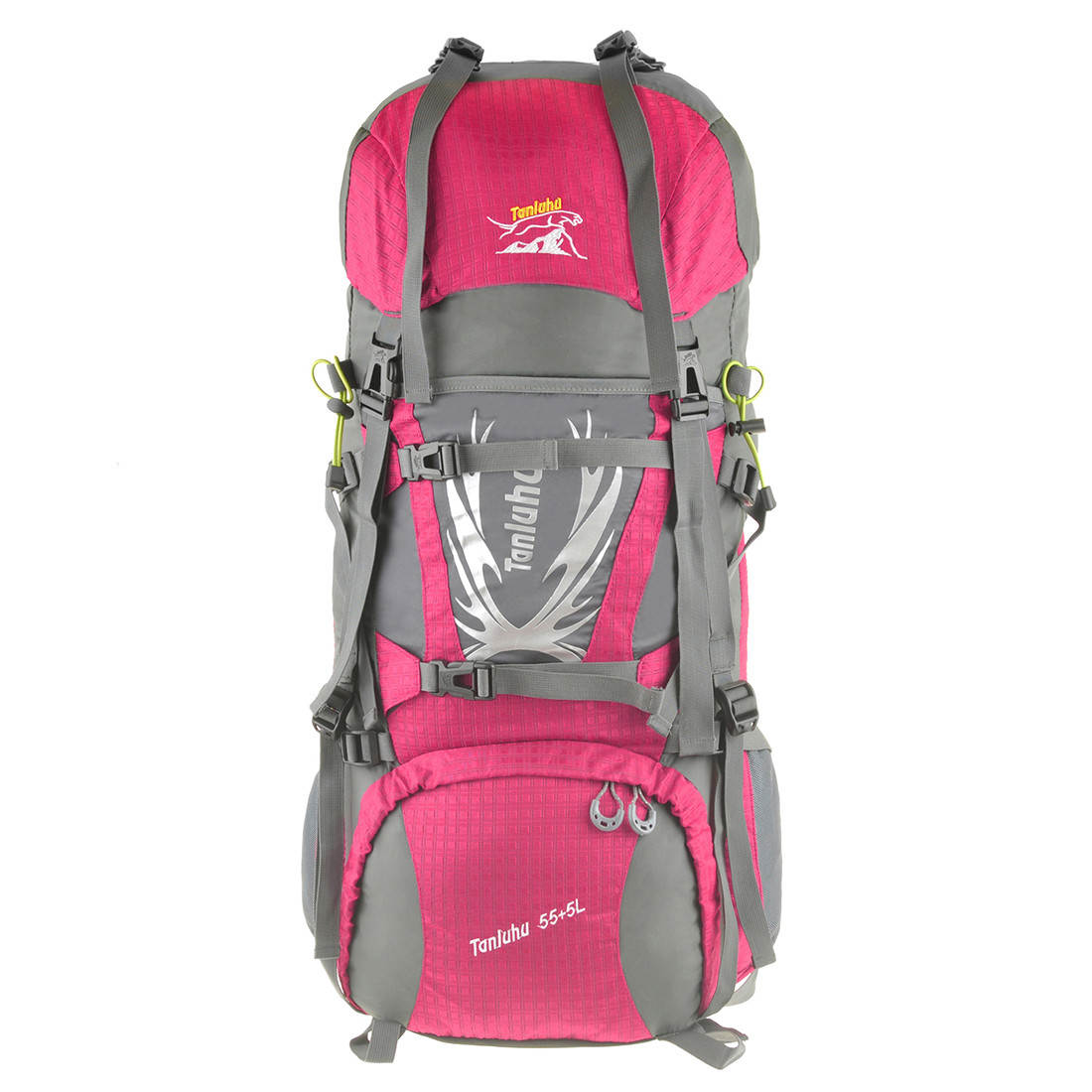 Рюкзак туристический розовый TANLUHU  80х32х24 55+5л Polyester Oxford Rip Stop PU 600D/1600D кс627роз
