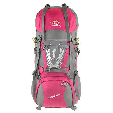 Рюкзак туристический розовый TANLUHU  80х32х24 55+5л Polyester Oxford Rip Stop PU 600D/1600D кс627роз, фото 2