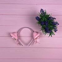 Обруч с кошачьими ушками Розовый