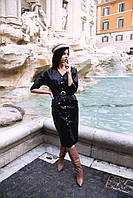 Стильное женское кожаное платье (Норма)