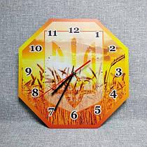 Настенные часы с гербом Украины и пшеницей 30 см