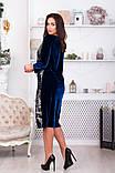 Бархатное платье с паетками с длиной за колено больших размеров р.48,50,52,54,56 код 965О, фото 2