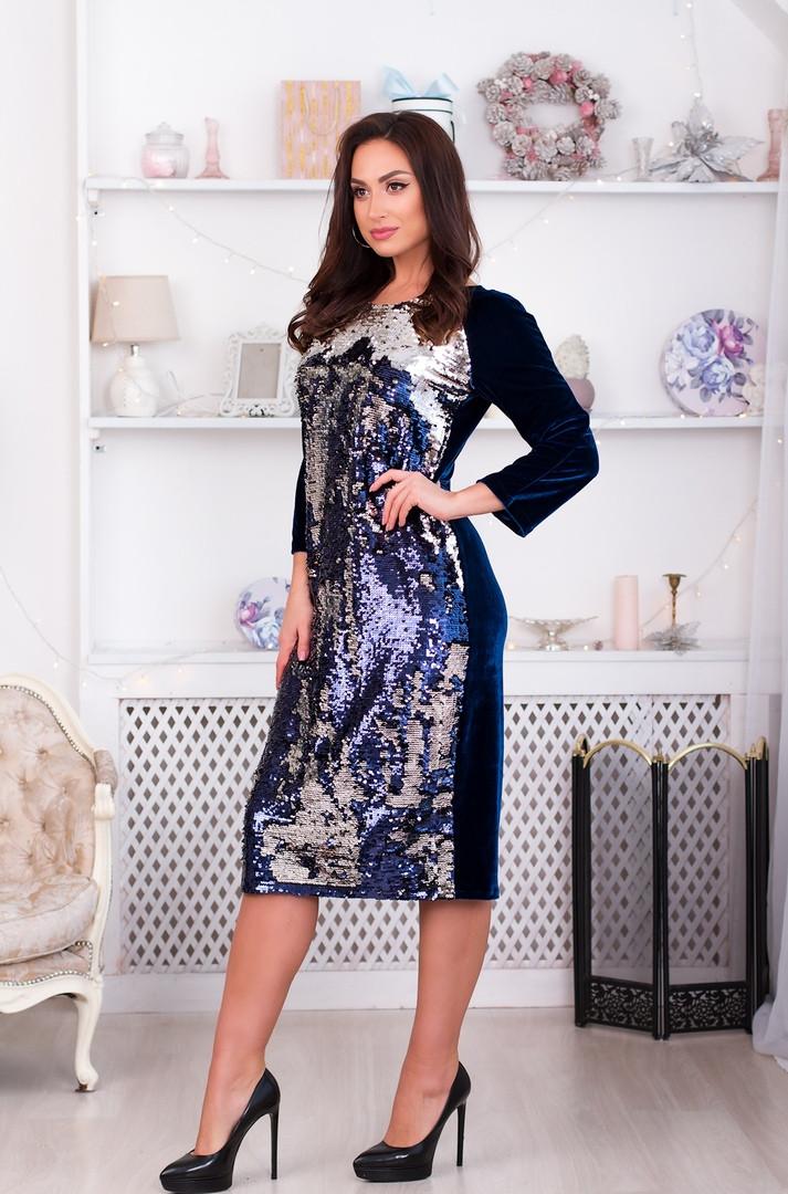 Бархатное платье с паетками с длиной за колено больших размеров р.48,50,52,54,56 код 965О