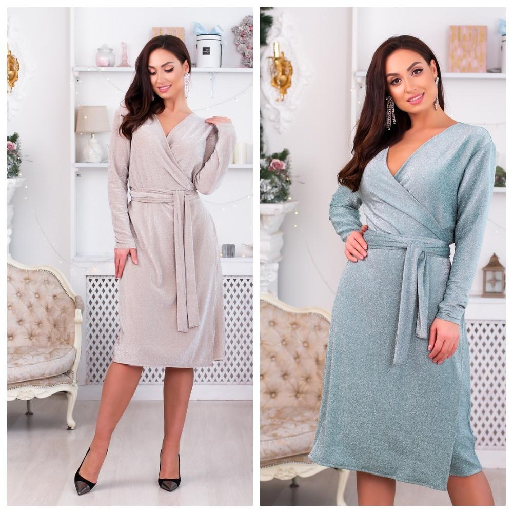 Платье на запах с V-образным вырезом, подчеркнет декольте р.48,50,52,54,56,58 код 967О