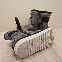 UGG угги детские кожаные коричневые серые ботинки сапожки уггі дитячі для мальчика для девочки эко кожа, фото 3