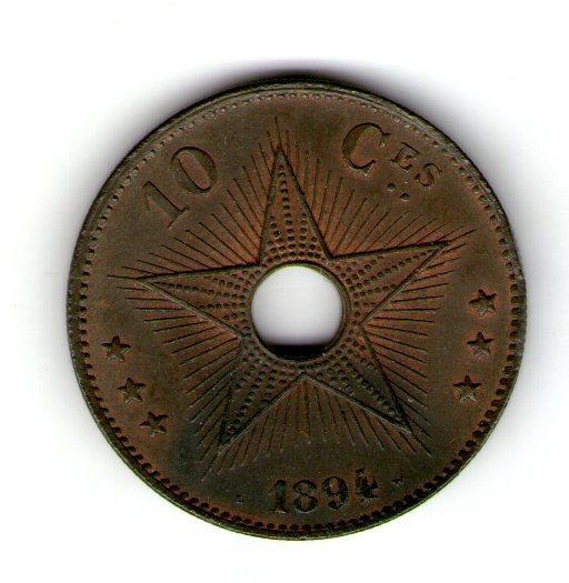 Бельгийское Конго 10 центов 1894 год Леопольд II