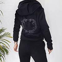 Велюровый женский батальный спортивный костюм черный