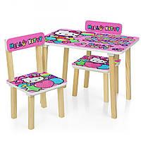 Детский столик деревянный и 2 стульчика Hello Kitty Bambi 501-49 Розовый, укр алфавит