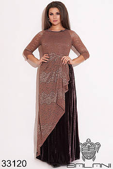Женственное комбинированное платье из гипюра и бархата с драпировкой спереди с 50 по 56 размер